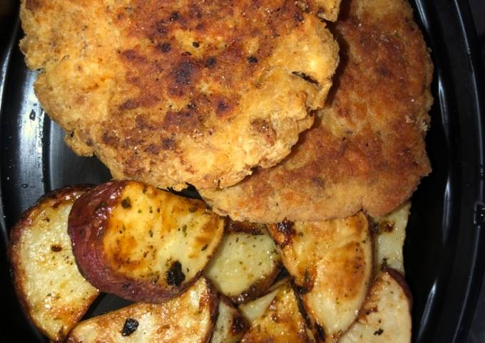 Salmon patties and ranch roasted potatoes