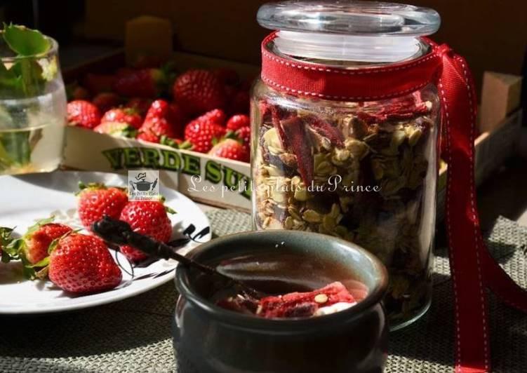 Muesli aux fraises au deshydrateur