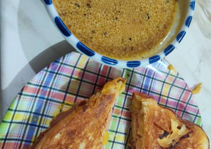 Step-by-Step Guide to Prepare Quick Grilled Cheese and Pastrami with French Au Jus Dip