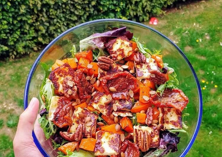 Butternut squash halloumi salad