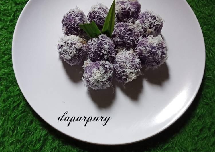 Resep Klepon ubi ungu isi gula aren