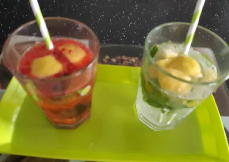 Boisson aux cerises et boisson mojito
