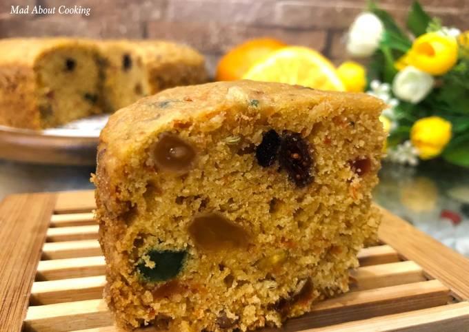 Eggless Whole Wheat Orange Carrot Dry Fruit Cake – Pressure Cooker Cake Recipe