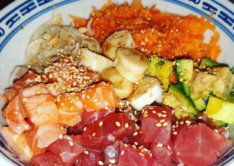 Poke bowl thon et saumon