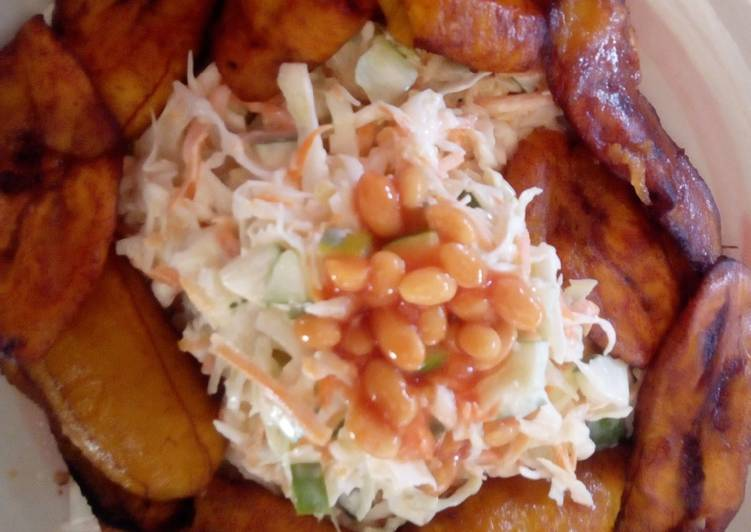 Fried plantain and Coleslaw