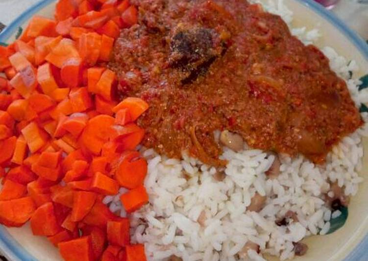 Pepper stew with rice and beans