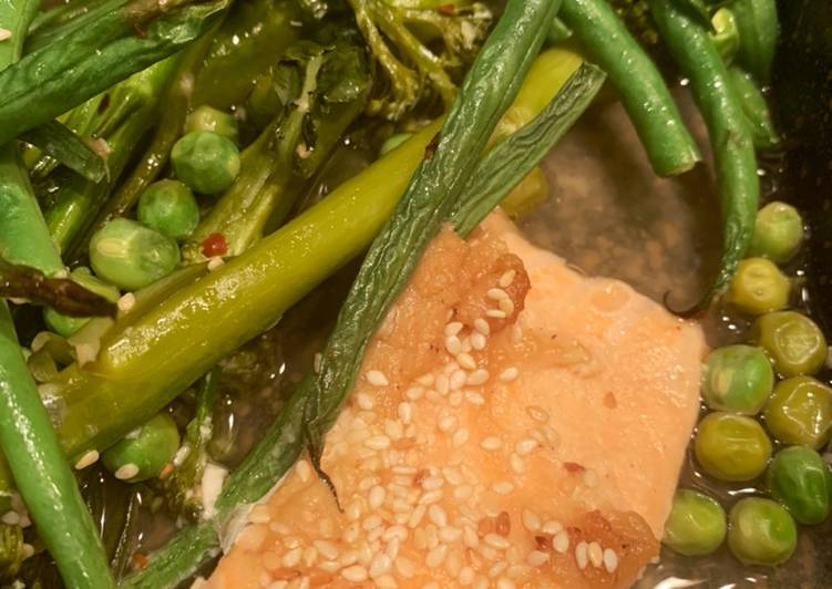 Salmon and Miso broth with green veg - a super easy weekday dinner