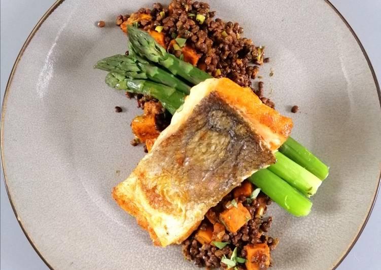 Recipe of Quick Salmon/sweet potato/black lentil/sundried tom pesto/asparagus