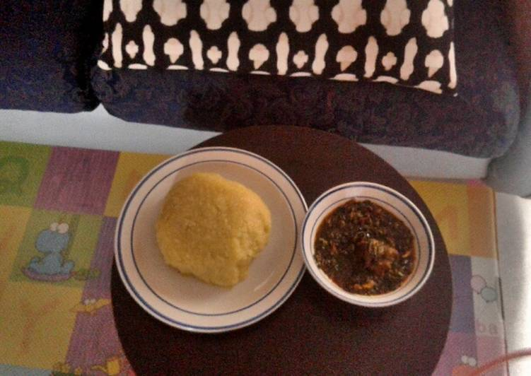 How to Make Any-night-of-the-week Vegetable soup with goat meat and Eba(Garri)