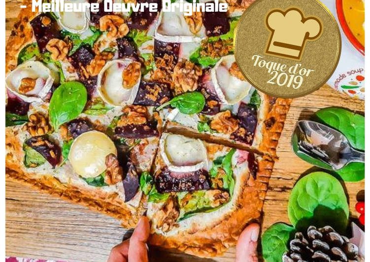 Recette: Tarte fine aux épinards & betteraves, fromage de chèvre & noix😋