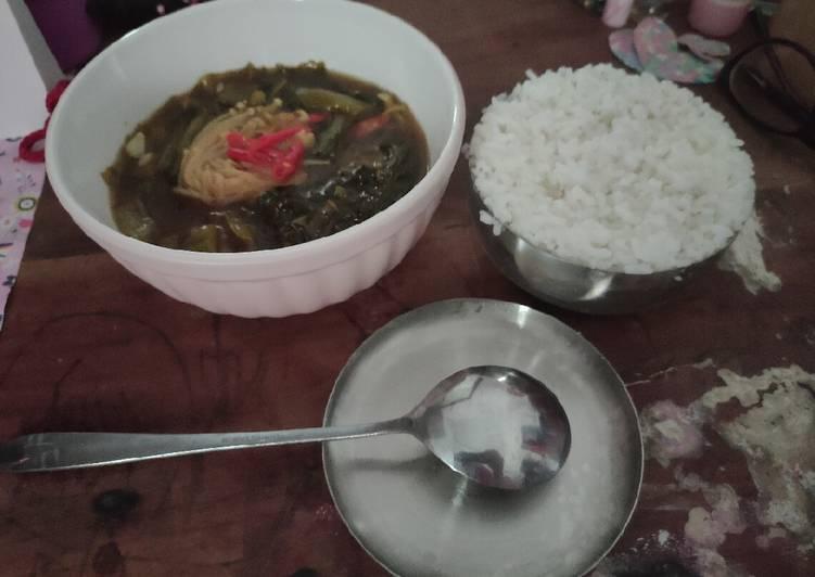 Sayur Sawi Asin dengan Jamur Enoki