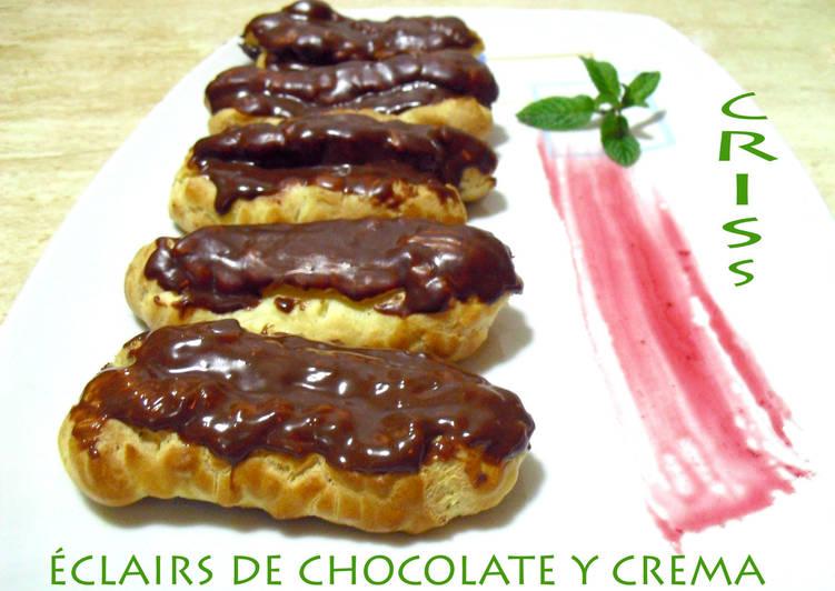 Éclairs de chocolate y crema