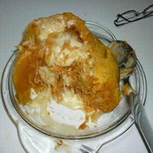 Calabaza rellena con restos de risotto de arroz