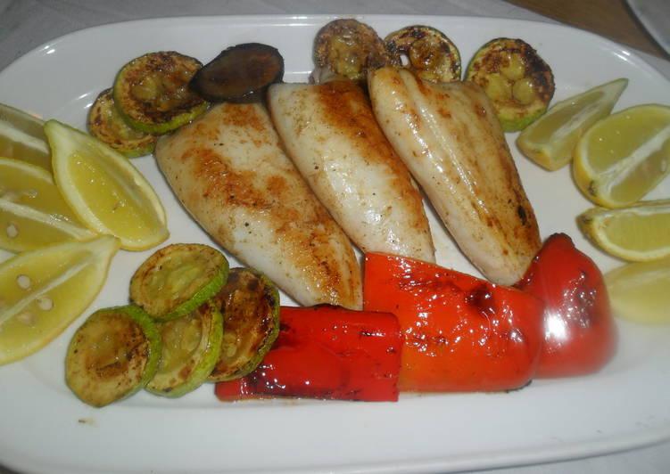 Calamares Y Verduras A La Plancha Con Zumo De Limón Receta