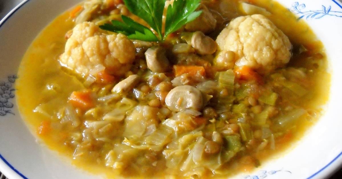 Sopa De Menestra De Verdura Y Lentejas Receta De Pensamiento Cookpad
