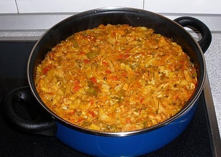 Kimchi con arroz, verduras y bacalao