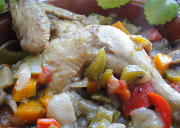 Picantones con verduras y tapenade