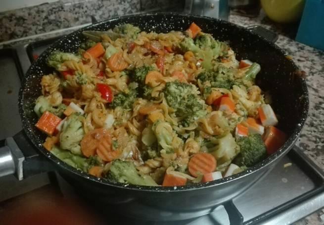 4 Menestra De Coliflor, Brócoli Y Zanahorias Con Espirales De Lentjejas