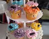 Cupcake karakter elmo langkah memasak 5 foto
