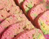 Rainbow marmer cake kukus irit telur langkah memasak 3 foto