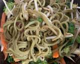 Pea noodle Stir fried with crispy mustard and turmeric tofu recipe step 7 photo