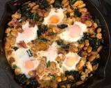 Smoked haddock, kale and butterbean baked eggs