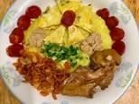 Xôi mặn thập cẩmXôi có gà, xôi có trứng, xôi có lạp xưởng, xôi có cả tôm khô 😄😄😄 bước làm 3 hình