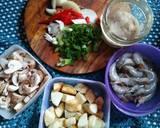 Jamur kancing,udang dan putih telur saos tiram langkah memasak 1 foto