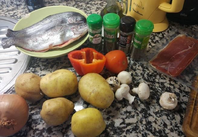 1 Trucha Rellena De Jamón Con Guarnición