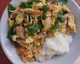 Bubur topping orak arik ayam, enoki dan daun bawang langkah memasak 8 foto