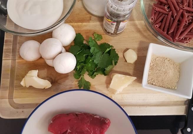 1 Solomillo De Ternera En Salsa Cremosa De Champiñón Y Pasta