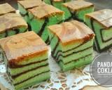 Pandan Coklat Ogura cake langkah memasak 9 foto