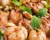 ราชินีเริงน้ำตก 💃 Beauty & the beast salad 👸 🦁 / น้ำตกมังคุดหมูปิ้ง วิธีทำสูตร 3 รูป