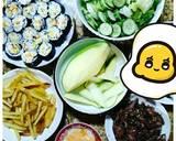 Xoài xanh chấm mắm ruốc thịt ba chỉ + Kimbap + khoai tây chiên + salad bước làm 4 hình